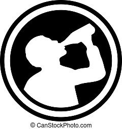 Circle with drinking man silhouette
