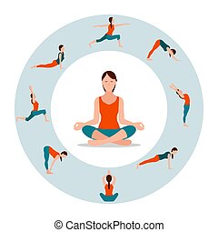 Circle with Female Icons in Different Yoga Poses