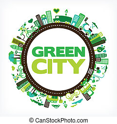 circle with green city - environment and ecology - circle...