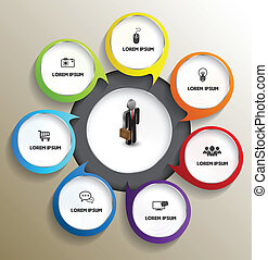 Circle with icons - Vector business concepts with icons / ...