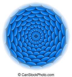Circle with roof tile pattern in blue.