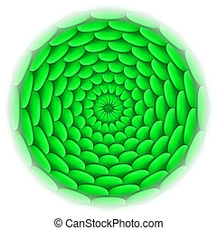 Circle with roof tile pattern in green.