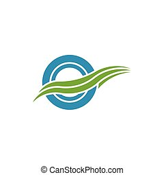 Circle with waves logo design template, fast wheel vector