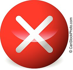Circle with X shape, cross. Delete, remove, quit button. Red...