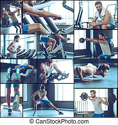 Circle workout. Collage of young handsome man in sportswear exercising at gym