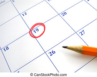 Circled date on a calendar.