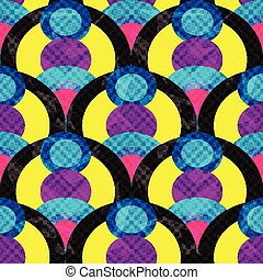circles and lines abstract geometric seamless pattern vector illustration grunge effect