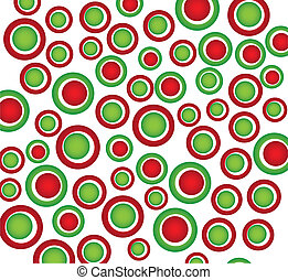 green and red circles christmas over white background. vector