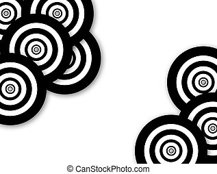 Background with black and white circles in the corners with space for insert text or design