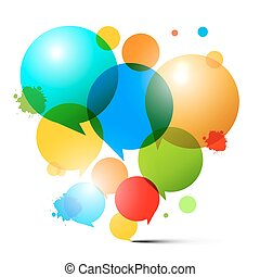 Circles - Colorful Bubbles - Abstract Vector Illustration on White Background
