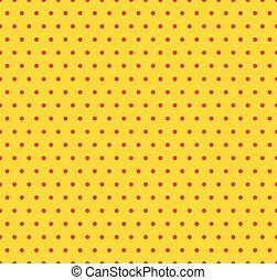 circles., fond jaune, pop, seamlessly, repeatable, art, rouges, pattern., pointillé