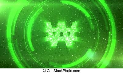 circles., gagné, arrière-plan vert, espace, seamless,...