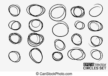 Hand drawn circles set for your design, Eps10 vector