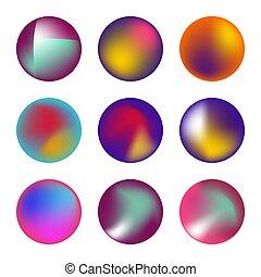 circles., holographic, vecteur, ensemble, fluide