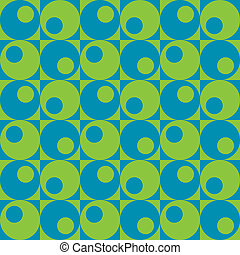 Circles In Squares Blue-Green
