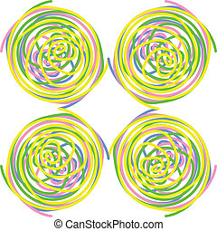 Circles made of colourful twisted spirals, seamless tile, vector