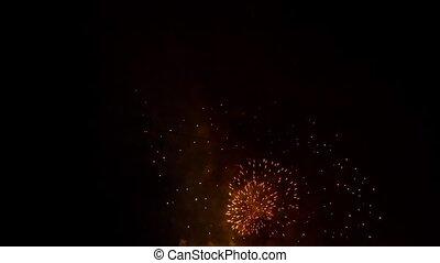 Circles Of Bright Fireworks Lighting Up Over Black Sky