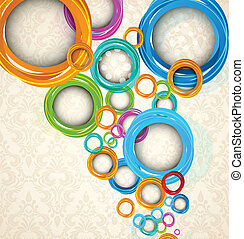Circles on floral background