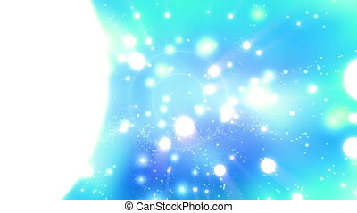 Circles particles light rays looping animated abstract background in blue