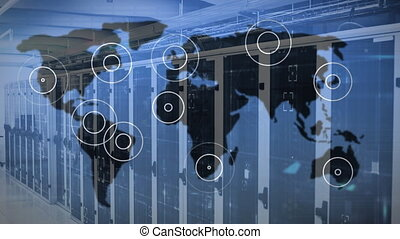 Animation of digital interface with circles and world map over server room. Global digital network technology security concept digitally generated image.