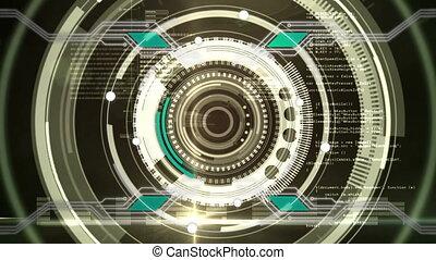 Circles rotating on black background