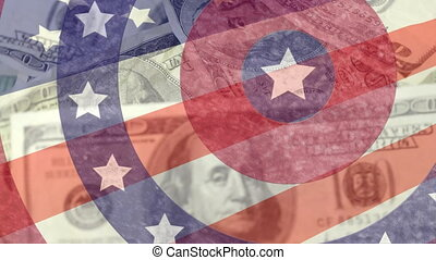 Animation of circles spinning with American flag  stars and stripes with American dollar banknotes spinning. Finance patriotism concept digitally generated image.