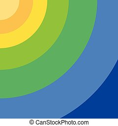 Circles starting at the top left corner and following each other in color