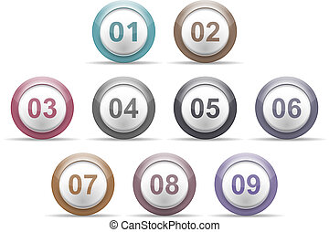 Circles with Numbers - Set of circles with numbers, vector...