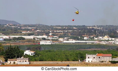 Circling fire hazardous area, Helitack.Portugal Faro Olhao