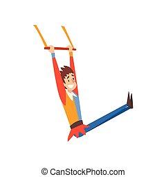 circo, aéreo, mostrar, ginasta, executar, ilustração, ...
