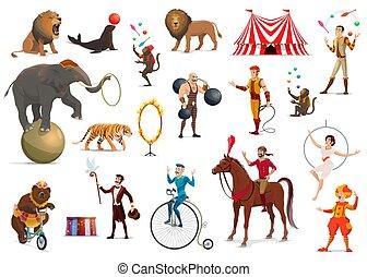 circo, acrobata, palhaço, animais, treinado, mágico
