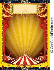 circo, amarelo vermelho