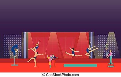 circo, artistas, interior, vector, arena., actuar, acróbatas...