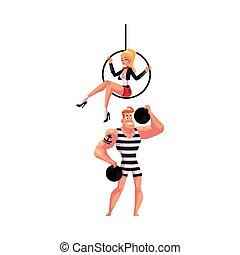 circo, artistas, -, strongman, e, acrobata, ginasta, sentando, ligado, aéreo, aro