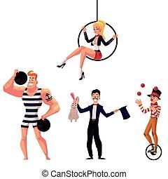 circo, artistas, -, strongman, illusionist, aéreo, ginasta, e, malabarista