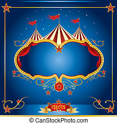 circo, azul, folheto