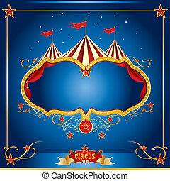 circo, azul, folleto