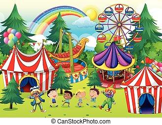 circo, bambini giocando