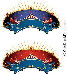 circo, bandeiras