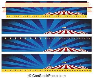 circo, barraca carnaval, bandeira, fundo, jogo