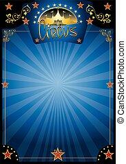 circo, blu, notte, manifesto