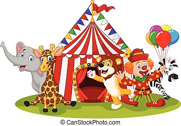 circo, caricatura, animal, feliz