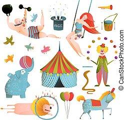 circo, carnevale, mostra, arte clip, vendemmia, collezione