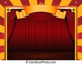circo, cartaz, com, fase, e, cortinas vermelhas