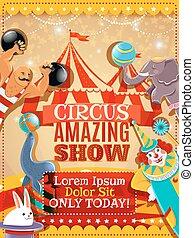 circo, cartel, rendimiento, anuncio, vendimia
