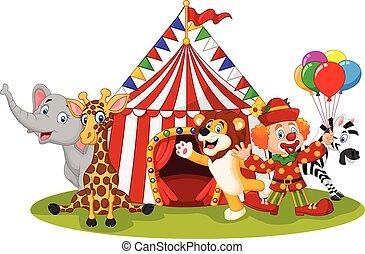 circo, cartone animato, animale, felice