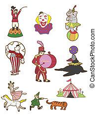 circo, cartone animato, icona