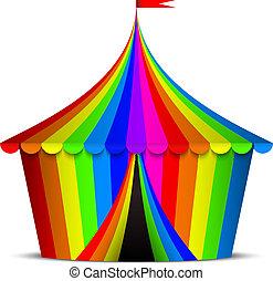 circo, colorido, tienda