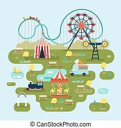circo, con, atracciones, o, parque de atracciones, mapa