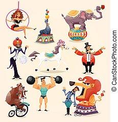 circo, conjunto, iconos